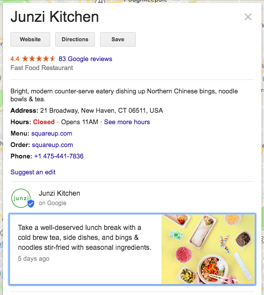 Junzi Kitchen Google My Business Listing