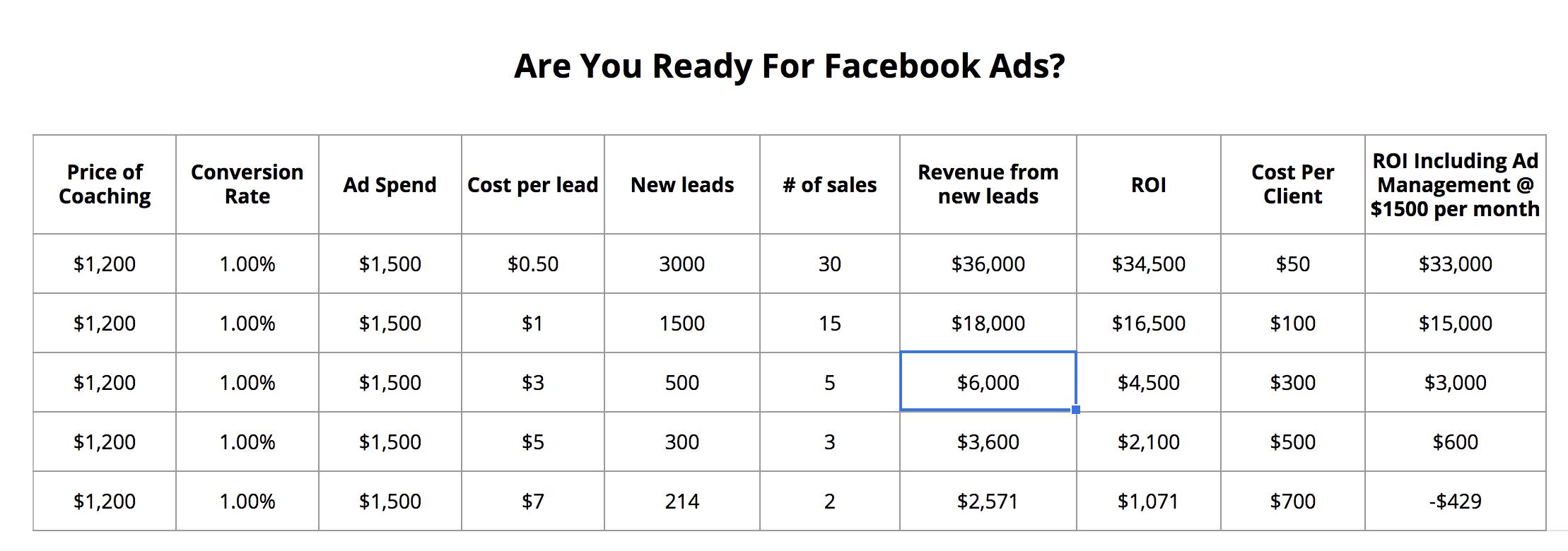 Facebook Ads ROI Calculator